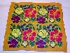 "Vintage Colorful POPPY FLOWERS 100% COTTON SCARF 20"" x 20"" MADE IN INDIA"