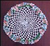 "Vintage Hand-Crochet Lace Floral PANSY 10"" 3-D TABLE DOILY A1918"