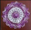 "Vintage Hand Crochet Lace VARIEGATED PURPLE Round Table Doily 9.5"" Diameter A1923"