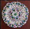 "Vintage HAND CROCHET LACE HANGING DOILY 3-D PANSY VARIEGATED FLOWERS 6"" Diameter A1924"