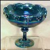 Vintage COBALT BLUE IRIDESCENT CARNIVAL GLASS FOOTED COMPOTE FRUIT BOWL Garland / Teardrop / Indiana Glass A1942