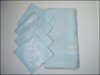 "Vintage ALICO Fine Imported SUPERFINE DAMASK Tablecloth & Napkin Set / Light Blue / 54"" x 54"" / Four (4) Napkins"