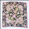 Vintage LIZ CLAIBORNE Silk Scarf Dusty Pink & Gold Roses on Black Background A2625