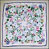 Vintage FLORAL MEDLEY (Chrysanthemums, Tulips and Berries) Traditional Japanese Silk Scarf