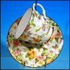 Vintage BETHANY Floral Chintz Teacup & Saucer Set Staffordshire, England / Yellow, Pink, Lilac & Green