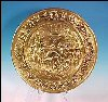 Large England English Medieval Village Scene Embossed Tin Brass Decorative Charger Plate