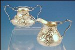 COLONIAL SILVER CO. Quadruple Silverplate Creamer & Sugar Bowl Tea Set Art Nouveau