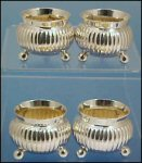 Antique Silver Plate Footed Salts / Salt Cellars in Case THOMAS LATHAM & ERNEST MORTON c.1866-1896
