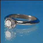 Cubic Zirconium Brilliant Round Diamond Solitaire Silver Setting Engagement Ring Marked KOREA C6