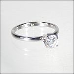 "1/2 Ct Brilliant Round Diamond Solitaire Silver Setting Engagement Ring Cubic Zirconium Marked ""CA"""