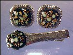 Vintage ANSON Tie Clasp Tie Bar & Cufflink Set - Mother of Pearl & Gold Flakes