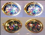 Pair Vintage QUALITY CORRECT Oval Cuff Links Cufflinks with Dichroic Glass Cabochons Gold Bezel