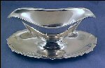 Vintage SILVERPLATE Gravy Boat Sauce Boat w/ attached Under Plate EARLY AMERICAN