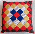"Vintage QUILTED PILLOW 14"" Hand-Pieced GRANDMOTHER'S PRIDE #2"
