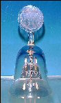 Vintage Annual Etched Crystal Glass Collectible Bell Round Medallion Handle © fc 1979