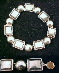 "Vintage Silver Tone Bracelet ""OPPOSITES ATTRACT"" Silver & Black, Squares & Rounds"