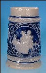 Vintage German Cobalt Blue Beer Stein - Ein froher Gast ist niemand last / A Happy Guest is Trouble to No One