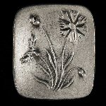 Vintage Swedish Retro TENN Pewter FLORAL Pin Brooch Signed / Sweden / Scandinavia
