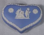 "Wedgwood Jasperware Large Heart Box Pale Blue ""The Three Graces"" (c. 1971)"