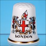 Vintage Collectible Bone China LONDON COAT OF ARMS Thimble Made in England