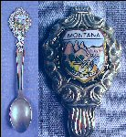 Vintage Enamel MONTANA Collectible Souvenir Spoon KLEPA ARTS, GERMANY
