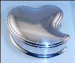 Vintage Silverplate Velvet Line Heart Shaped Jewelry Box - We love you Mom
