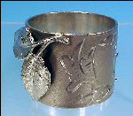 Victorian Silverplate NAPKIN RING Applied Figural Leaf & Hand Tooled Engraving