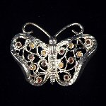 Silver & Color Rhinestone Filigree FIGURAL BUTTERFLY Brooch Pin