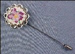 Vintage Silver & Needlepoint STICK PIN / STICKPIN - Purple Pansy
