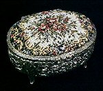 Vintage Footed OVAL Silverplate Repousse & PETIT POINT / NEEDLEPOINT Jewelry / JEWEL Box  Casket with Mirror