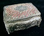 Vintage Silver Plated FILIGREE & REPOUSSE ROSE Footed Jewelry Box Jewel Casket