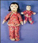 "Vintage Cloth Body Handmade Oriental JAPANESE Dolls 11"" and 5.5"" JAPAN Mother & Child"