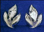 Vintage Silver Tone CROWN TRIFARI Clip-on Earrings Brushed & Polished Silver Leaf / Leaves