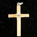 "Elegant Baby or Child Gold Tone Cross with Rhinestone ""Diamond"" Accent"