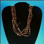 "Retro Multi-Strand Chunky Beaded 14"" Choker Necklace - Browns, Topaz and Metallic Burgundy"
