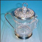 Antique Victorian Ornate Silver Plate Lidded Creamer Pitcher w/ Glass Insert Set