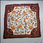 Vintage 100% Chinese Silk Scarf QIANTAIXIANG SILK Peony Flowers Brown, Orange, Peach, Green & Burgundy