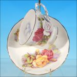English ROYAL OSBORNE Bone China Teacup & Saucer Set PINK, YELLOW & WHITE ROSES #7971 Vintage