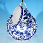 Antique Japanese NIPPON (Nichi How) Cobalt Blue & White IMARI Porcelain Teacup & Saucer Set