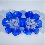 Vintage Cobalt Blue Double Serving Bowl Ruffled Edges, Molded & Frosted Tulip & Carnation Flowers & Leaves