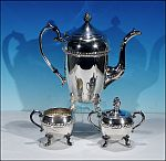 Vintage 3-Piece Silverplate Footed Tea Set CROSBY by A. COHEN & SONS