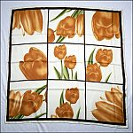 "Vintage Hand Made Floral Tulip Windowpane WATER SILK Scarf 35"" Square"