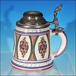 Vintage German Dutch Ceramic Pottery Ladies FLORAL ROSE Beer Stein Pink & Blue
