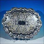 "Vintage W & S Blackinton Fine Silverplate 14"" Footed Oval Serving Tray Salver"