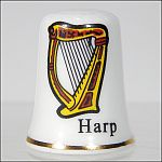 Collectible IRISH CELTIC HARP Porcelain Thimble IRELAND