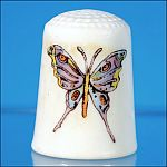 Vintage Exotic Tropical Butterfly China Thimble Collectible Souvenir