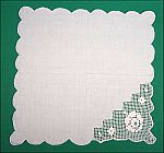 White Linen & Net Lace Floral Rose Napkin Doily Table Runner Scallop Border