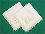 Pair Creamy White Cotton Linen Embroidered Ladies Hankies with Lace Edges