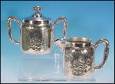 MERIDEN SILVER PLATE CO. Quadruple Silver Plate Silverplate Covered Sugar Bowl and Creamer Pitcher Tea Set  (Re-Silvered)