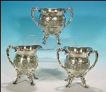 Antique Footed Pairpoint Silverplate Completer Tea Set - Oiron & Canis Major Celestial Motif